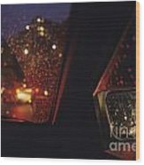 Nighttime Driving With City Lights Wood Print