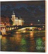 Nighttime Paris Wood Print