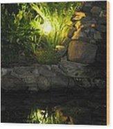 Nighttime Reflection Wood Print