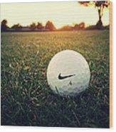 Nike Golf Ball Wood Print by Derek Goss