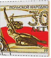 Nike Holding A Sword With The Polish Flag Behind Wood Print