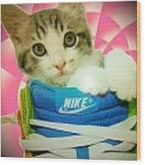 Nike Kitten Wood Print by Alexandria Johnson