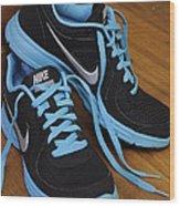 Nike Shoes Wood Print by Nicole Berna