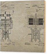 Nikola Tesla's Electrical Generator Patent 1894 Wood Print