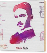 Nikola Tesla Patent Art Apparatus For Aerial Transportation  Wood Print