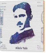 Nikola Tesla Patent Art Electric Arc Lamp Wood Print