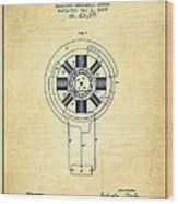 Nikola Tesla Patent Drawing From 1889 - Vintage Wood Print