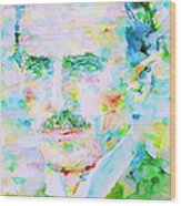 Nikola Tesla Watercolor Portrait Wood Print