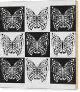 Nine Lives - Black And White Wood Print