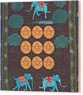 Nine Of Pentacles Wood Print