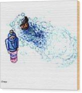 Ninja Stealth Disappears Into Bubble Bath Wood Print