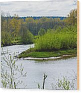 Nisqually River From The Nisqually National Wildlife Refuge Wood Print