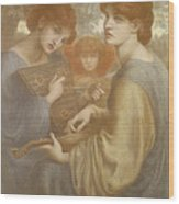 No. 1011 Study For The Bower Meadow Wood Print by Dante Gabriel Charles Rossetti