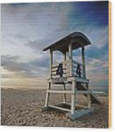 No 4 Lifeguard Station Wood Print