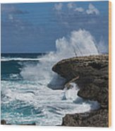 No Fishermen - Fun Sport At Laie Point Oahu North Shore Hawaii Wood Print