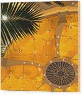 Sunshine Yellow Silk Decor With Stars Wood Print