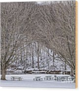 Snowy Picnic Ground In Winter Wood Print