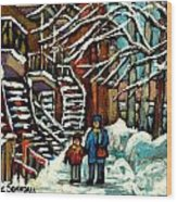 No School Today Out For A Snowy Walk Verdun Winter Winding Staircases Montreal Paintings C Spandau Wood Print