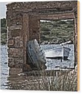 Vintage Boat Framed In Nature Of Minorca Island - Hide And Seek Wood Print