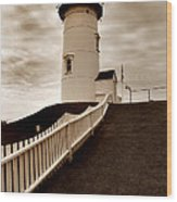 Nobska Lighthouse Wood Print by Skip Willits