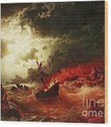 Nocturnal Marine With Burning Ship Wood Print