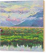 Nomad - Alaska Landscape With Joe Redington's Boat In Knik Alaska Wood Print