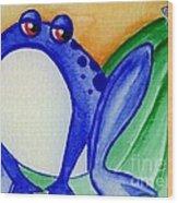 Nonchalant Frog Wood Print