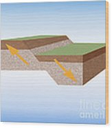 Normal Fault Created By Earthquake Wood Print