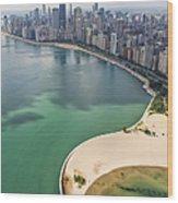 North Avenue Beach Chicago Aerial Wood Print by Adam Romanowicz