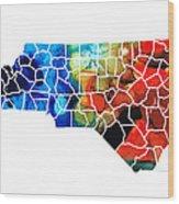 North Carolina - Colorful Wall Map By Sharon Cummings Wood Print