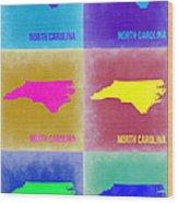 North Carolina Pop Art Map 2 Wood Print