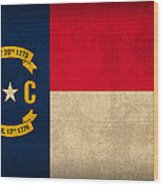 North Carolina State Flag Art On Worn Canvas Wood Print by Design Turnpike
