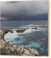 Wild Rocks At North Coast Of Minorca In Middle Of A Wild Sea With Stormy Clouds Wood Print
