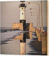 North Pier Sunset Melt Wood Print