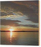 North River Sunset Wood Print