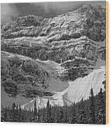 1m3536-bw-north Side Crowfoot Mountain  Wood Print