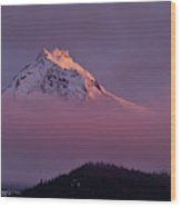 North Sister Volcano,last Evening Light Wood Print