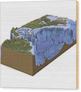 North-western Atlantic, Bathymetry Model Wood Print