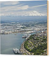 Northend And Downtown Tacoma, Port Wood Print