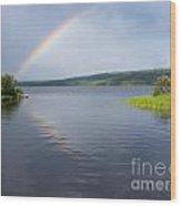 Northern Bc Calm Taiga Lake Rainbow Canada Wood Print