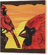 Northern Cardinals At Sunrise Wood Print