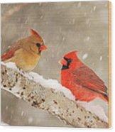 Northern Cardinals Wood Print
