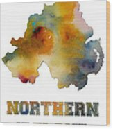 Northern Ireland Watercolor  Map Wood Print