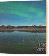 Northern Lights And Fall Colors At Calm Lake Wood Print