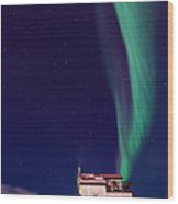 Northern Lights And House Boat On Great Slave Lake In Yellowknife Wood Print