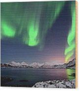 Northern Lights And Moonlit Landscape Wood Print