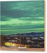 Northern Lights Aurora Borealis Over Rural Winter Wood Print