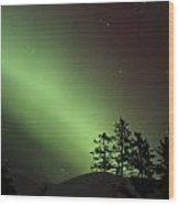 Northern Lights Disappear Wood Print