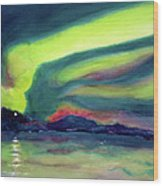 Northern Lights On Superior Shores Wood Print