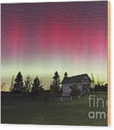 Northern Lights Over Foster Covered  Bridge Cabot Vt Wood Print